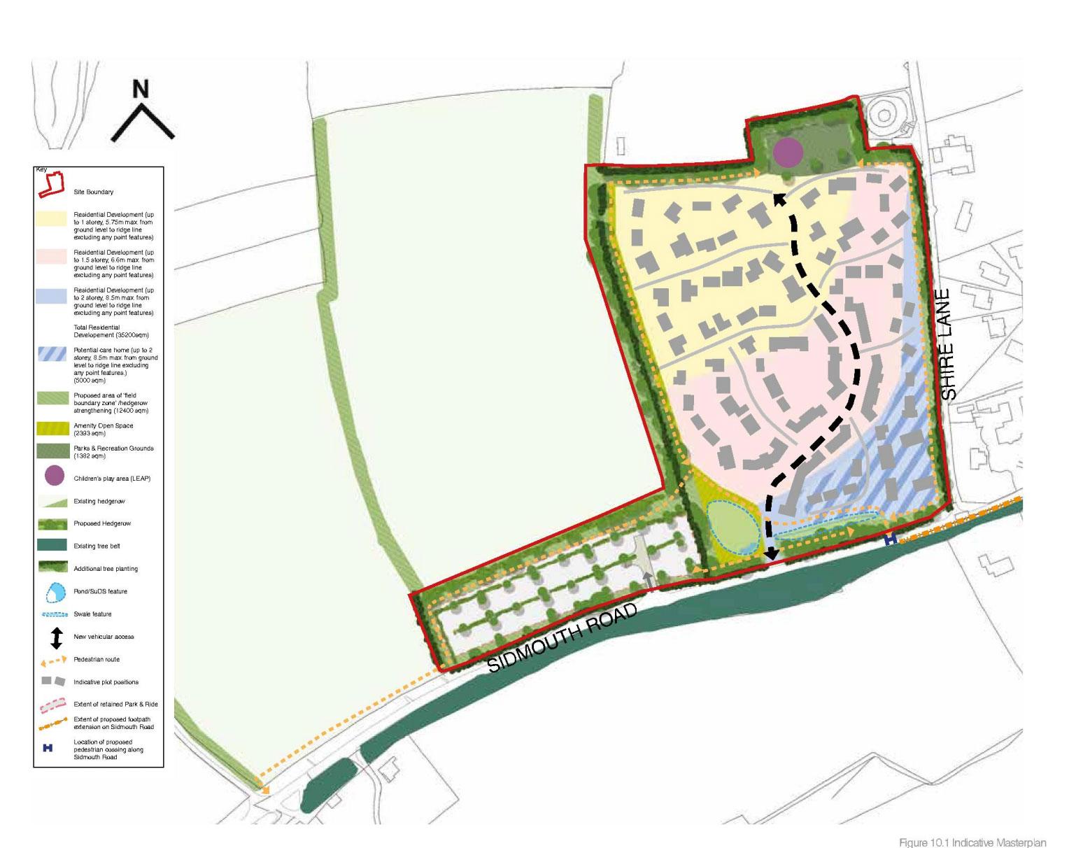 Site map, proposed development under application 15/0851/MOUT