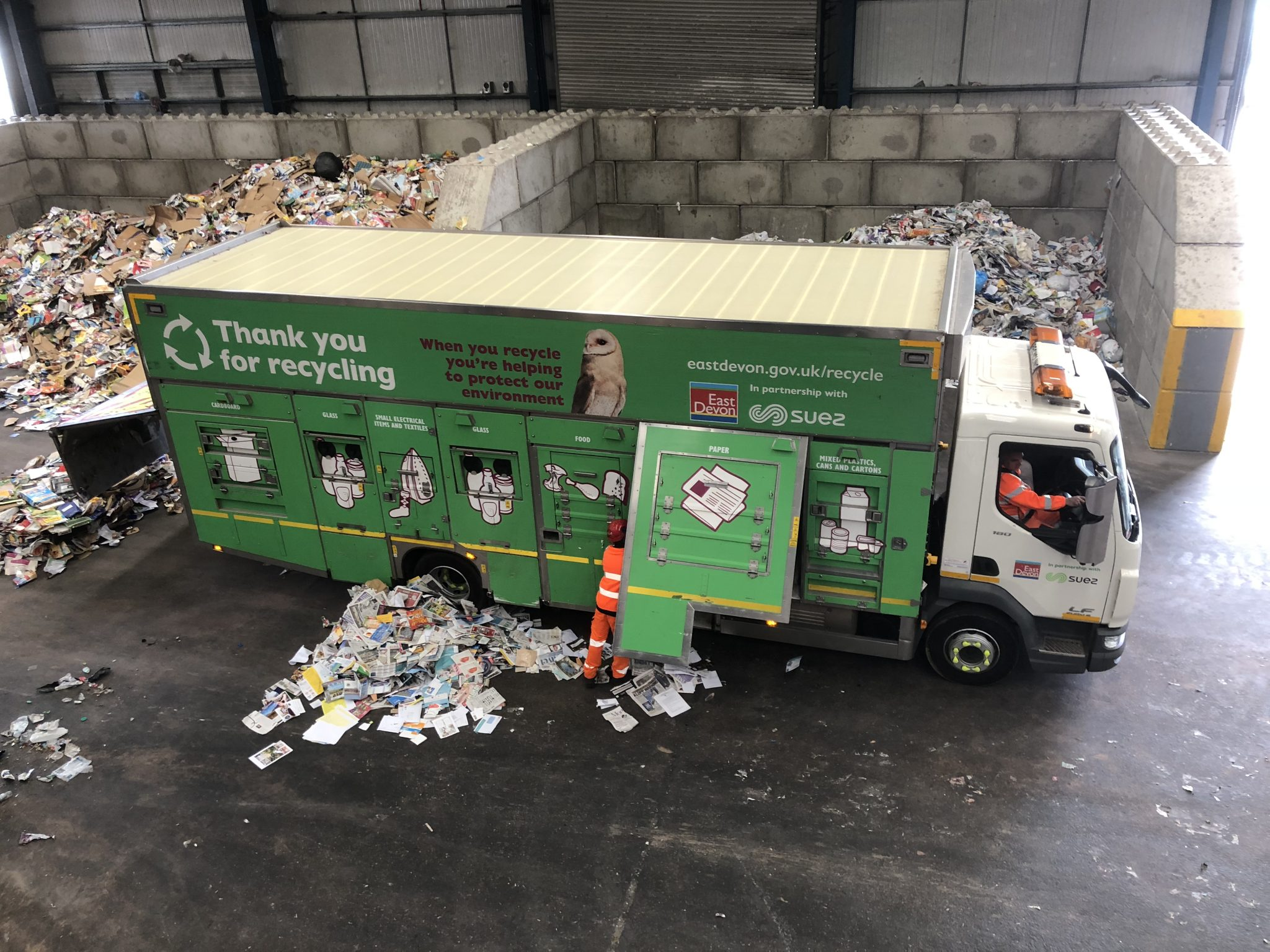 Recycling vehicle is unloaded at the EDDC/SUEZ facility near Exeter