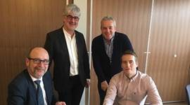 Pictured at the signing, from left to right, front: Richard Cohen Deputy Chief Executive East Devon District Council and Peter Quincy Directory Grenadier Estates, left to right back East Devon Leader Cllr Thomas and Cllr Skinner, Chair of the Exmouth Regeneration Board