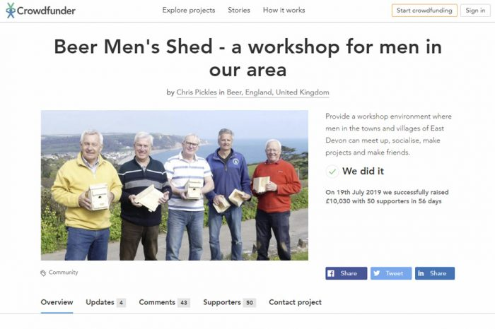 Popular Beer Men's Shed project raises more than £10,000 in crowdfunding campaign, including £4,500 from EDDC - East Devon